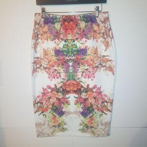 Bobeau Floral Print Ponte Pencil Skirt Large